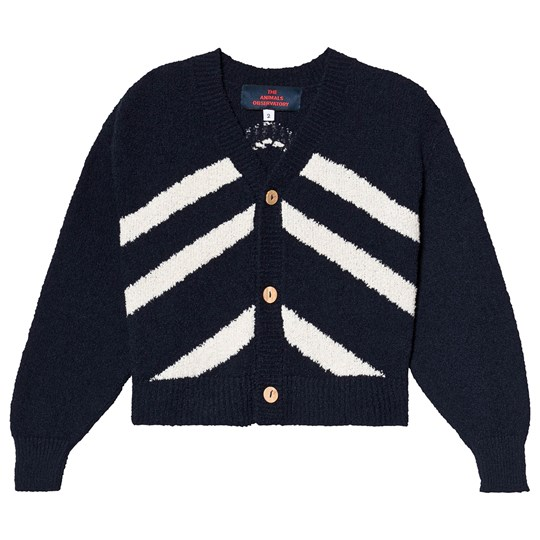 The Animals Observatory Stripes Raccoon Kids Cardigan Navy Blue Navy Blue