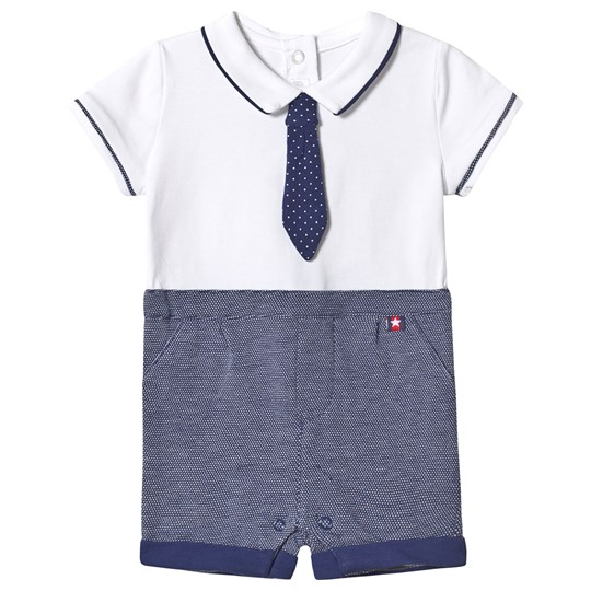 Mayoral Tie Romper Navy/White 3