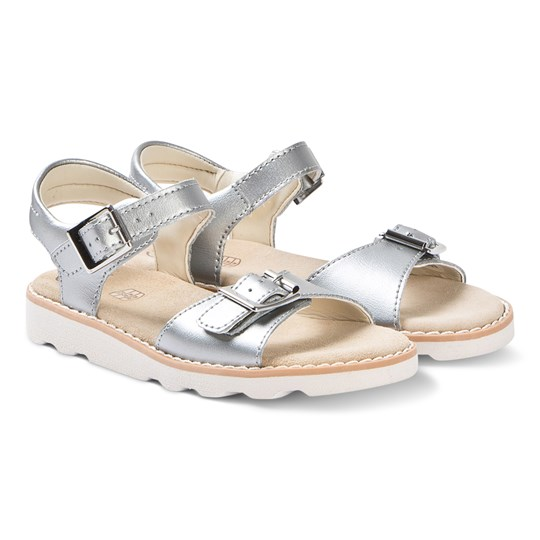Clarks Silver Leather Crown Bloom Sandals SILVER LEATHER