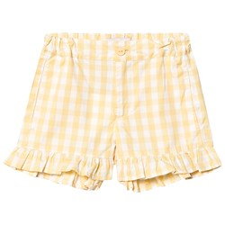 Tinycottons Check Shorts Off White/Canary