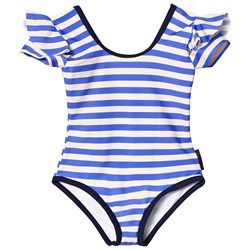 Tinycottons Stripes Frill Swimsuit Cream/Ultramarine