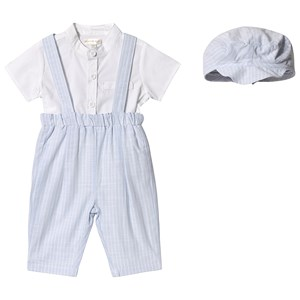 Image of Mintini Baby Blue and White Stripe Overalls, Tee and Hat Set 12 months (3125301747)