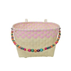 Rice Kids Woven Plastic Bicycle Basket in Cream with Soft Pink Border
