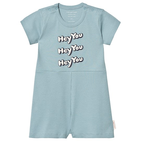 Tinycottons Hey You Relaxed Romper Sea Grey/Cream sea grey/cream