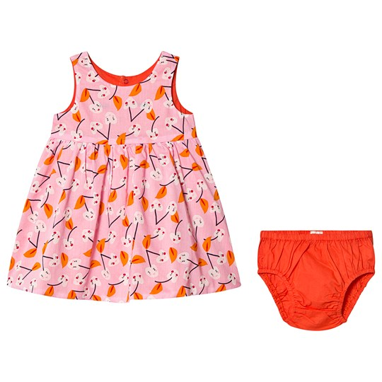 Catimini Pink Cherry Print Reversible in to Coral Dress with Bloomers 32