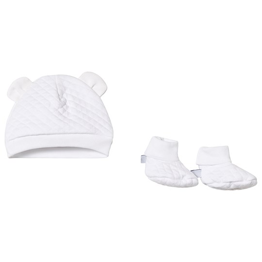 Absorba White Quilted Hat and Booties Set 01