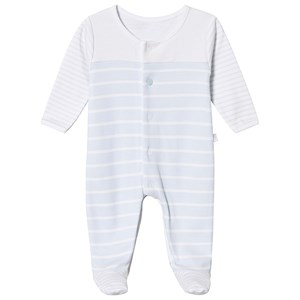 Image of Absorba Blue and White Striped Footed Baby Body 12 months (3125316813)