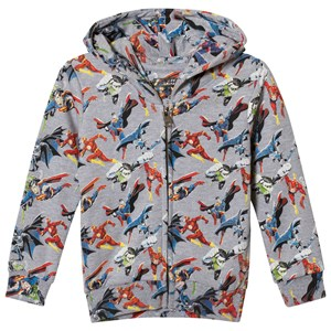 Image of Little Eleven Paris Gray Super Hero All Over Print Zip Through Hoodie 12 years (2996516181)