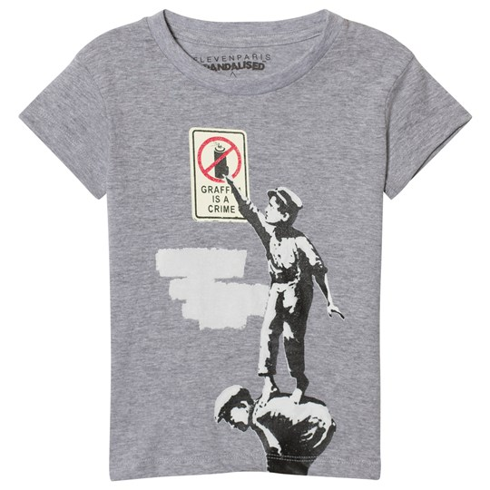 Eleven Paris Gray Banksy Graffiti Print T-Shirt M06
