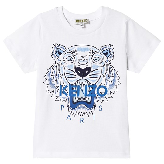 Kenzo White and Blue Tiger Print Tee 01