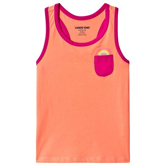 Lands' End Rainbow Pocket Tank Top Orange JXF
