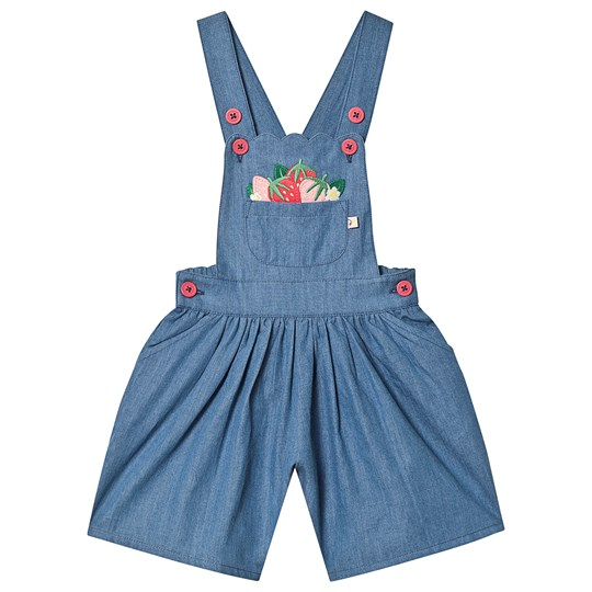 Frugi Chambray Culotte Overall Chambray/Strawberries