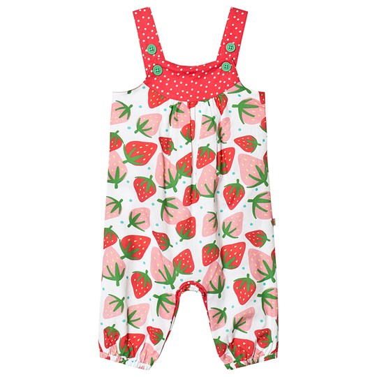 Frugi Springtime Strawberry Overall White Scilly Strawberries