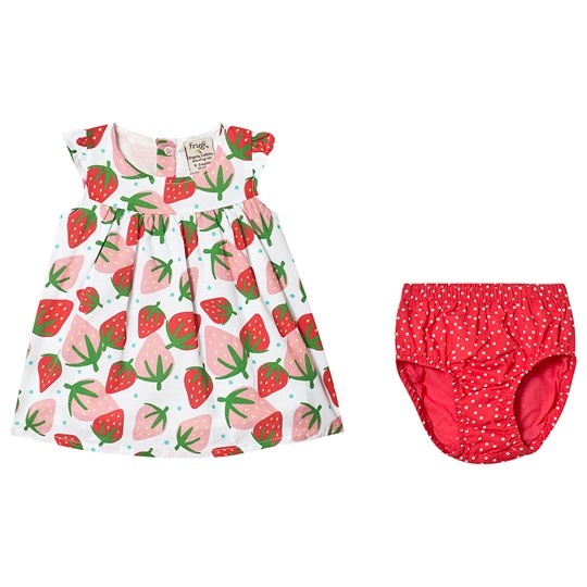 Frugi Polly Strawberry Dress White Scilly Strawberries