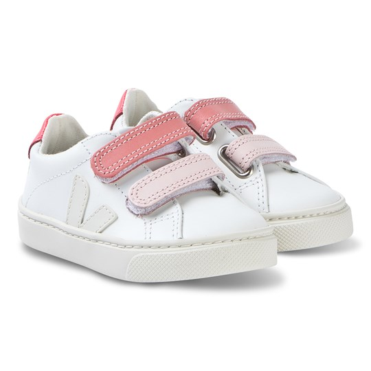 Veja Esplar Leather Sneakers White/Pink EXTRA-WHITE PIERRE VELCRO ROSE
