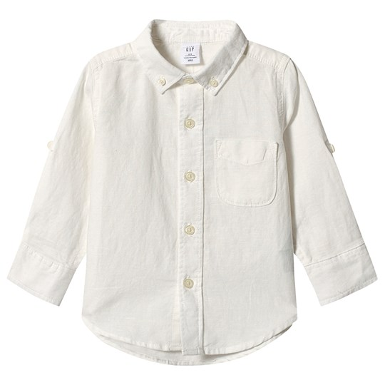 GAP Convertible Linen Shirt New Off White NEW OFF WHITE