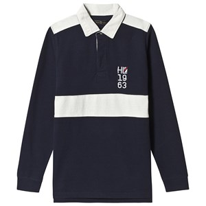 Henri Lloyd Marineblå Embellished Stripe Rugby Shirt 8-9 years