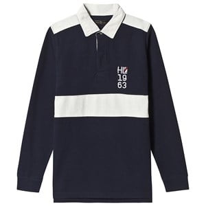 Henri Lloyd Marineblå Embellished Stripe Rugby Shirt 3-4 years