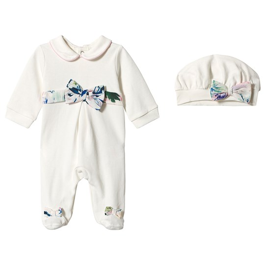 Mintini Baby White Babygrow with Pink Bow Waist and Hat White