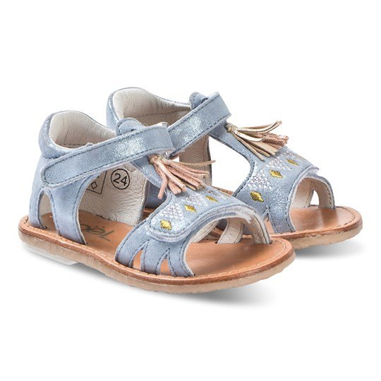 Noël Mini Seville Leather Sandals Blue 137