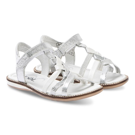Noël Strassy Leather Sandals Silver/White 105