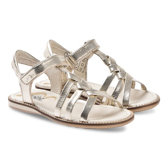 Noël Strassy Leather Sandals Gold Metallic 119