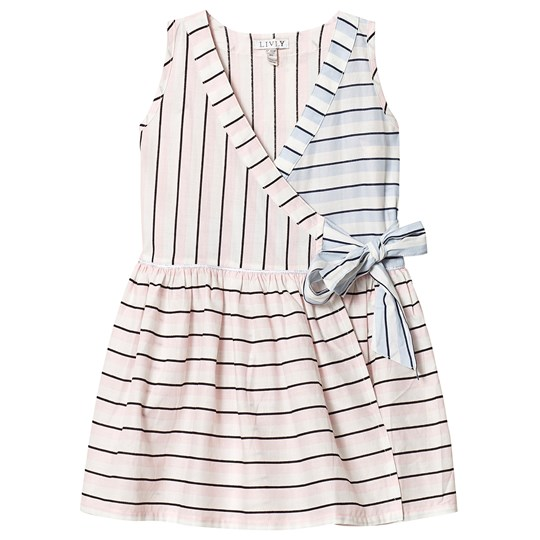 Livly Candy Stripes Dress Pink/Blue block candy stripes