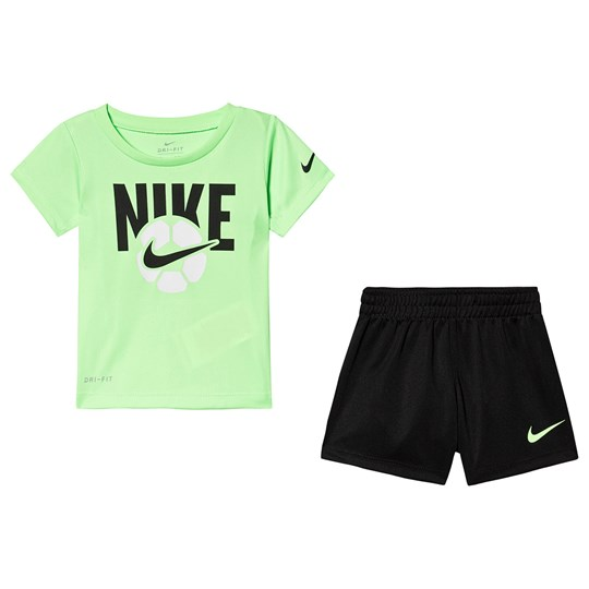 NIKE Graphic Tee and Shorts Set Lime/Black K7P