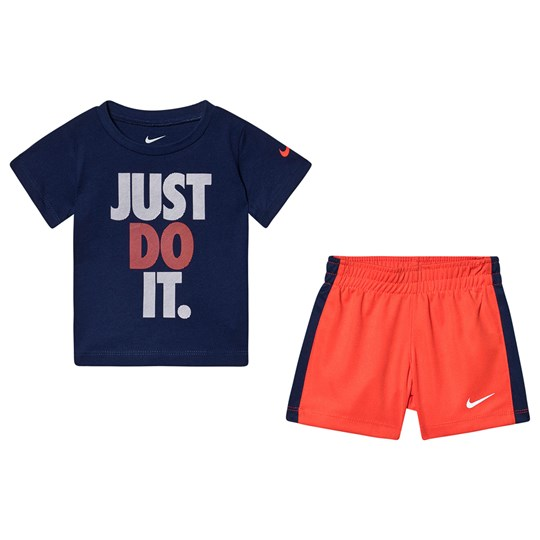 NIKE Just Do It Tee and Shorts Set Navy/Red R4Y