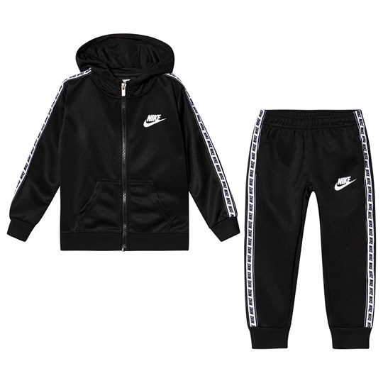 NIKE Taped Sleeve Hooded Tricot Tracksuit Black 023