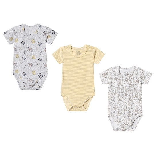 Hust&Claire 3-Pack Bati Baby Bodies Yellow Sun dust