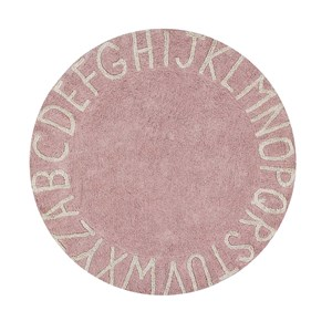Image of Lorena Canals Round ABC Natural Rug Vintage Pink 150 cm One Size (1368607)