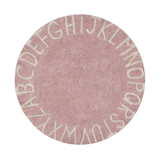 Lorena Canals Round ABC Natural Rug Vintage Pink 150 cm Nude