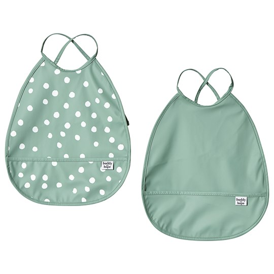 Buddy & Hope Bib 2-Pack Green with Dots