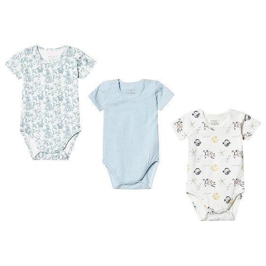 Hust&Claire 3-Pack Bati Baby Bodies Blue Ever blue
