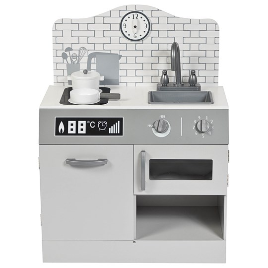 STOY Wood Kitchen with stove & sink Silver