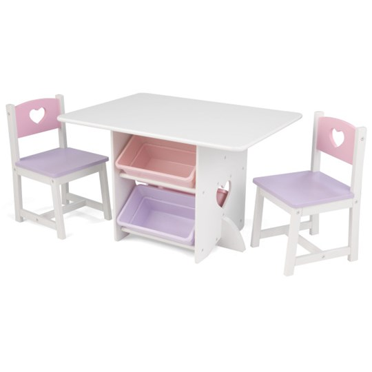 KidKraft Table with Storage & 2 Chairs with Hearts Multi