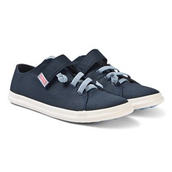 Camper Navy Canvas Velcro Pursuit Trainers