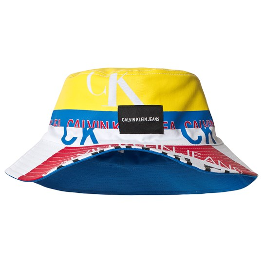 2a55cd657ea56 Calvin Klein Jeans - Blue and Yellow Logo Print Reversible Bucket ...