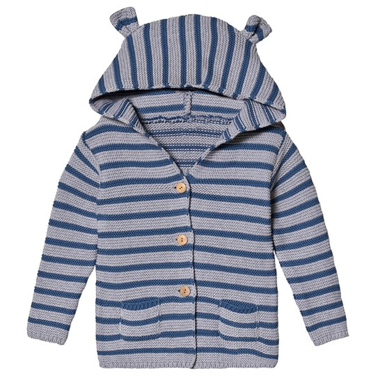 One We Like Stripe Hooded Cardigan in Grey Blue Greyblue