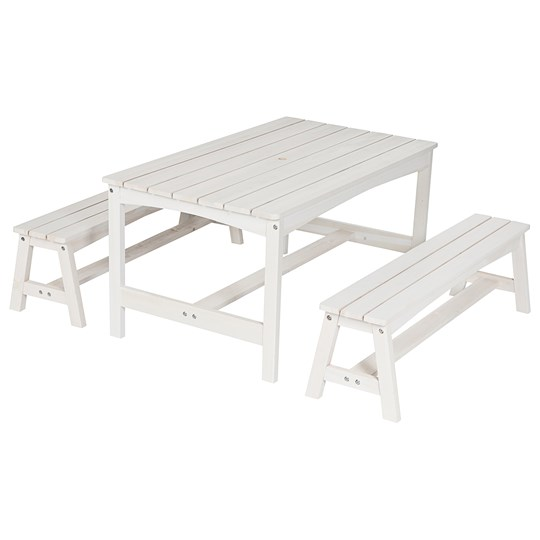 Oliver & Kids Table with Two Benches White