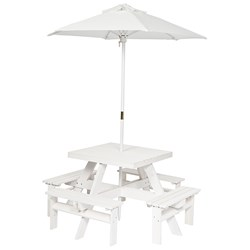 Oliver & Kids Squared Picnic Table with Parasol White