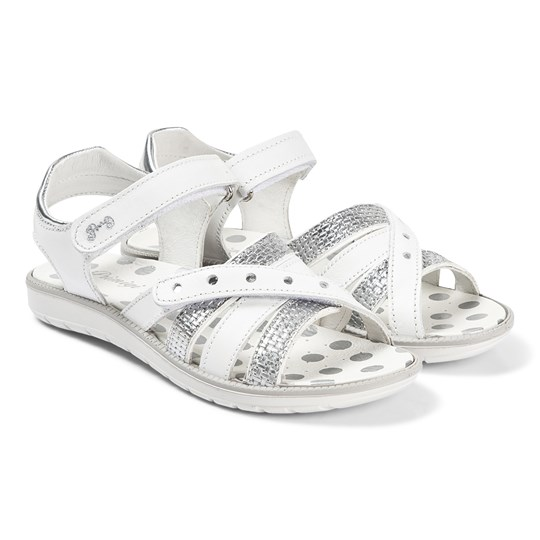 Primigi White Silver Dotty Cross Front Sandals Bianco/Argento