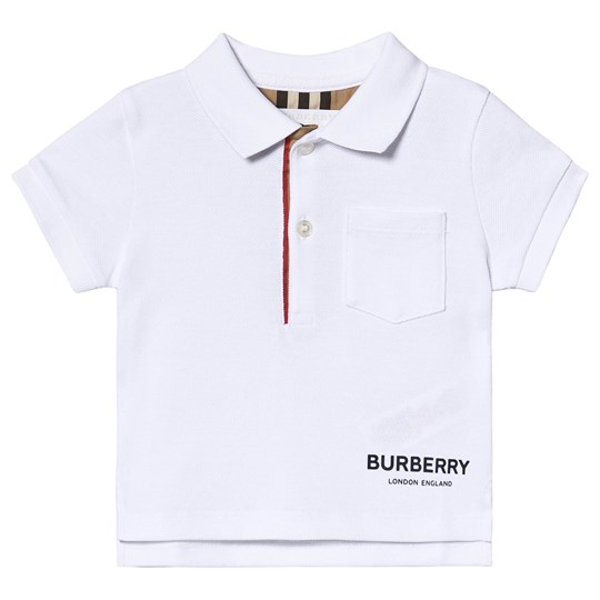Burberry Icon Randig Placket Pikétröja Vit A1464