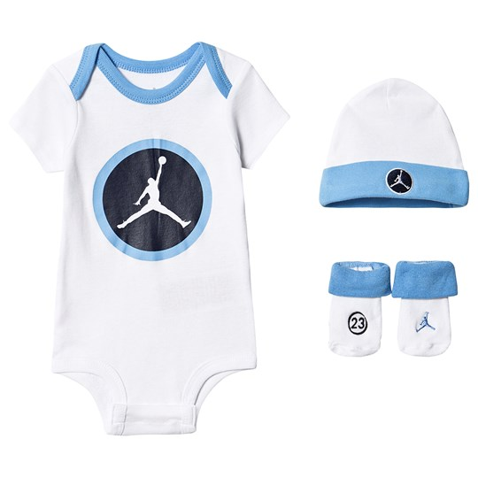 Air Jordan White and Blue Speed Reaction Jumpman Logo Hat, Body and Booties Set B9F