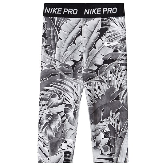 NIKE White and Grey Leaf Print Capri Leggings 059