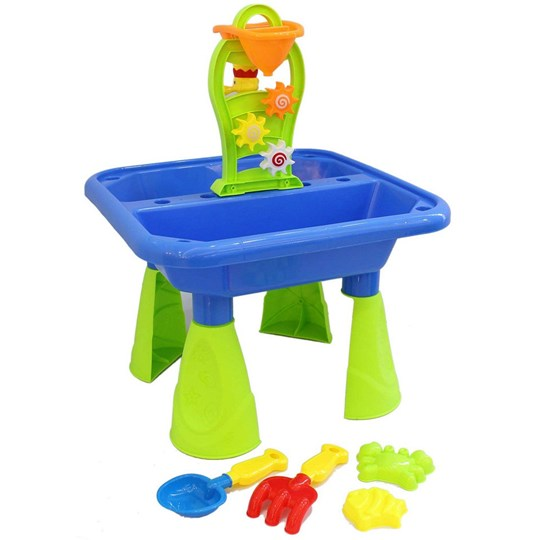 Oliver & Kids Sand Beach Table with Water Mill and 4 pcs of Accessories Blue