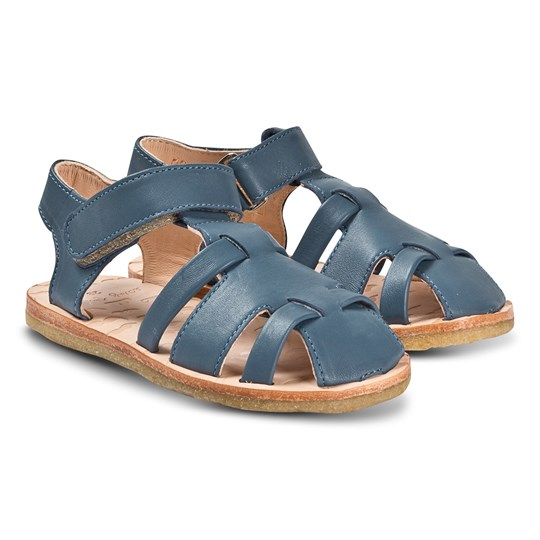 Easy Peasy Blue Leather Dudu Velcro Sandals 43
