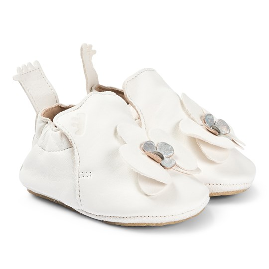Easy Peasy White Flower Leather Crib Shoes with Crepe Sole 54
