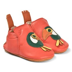 Easy Peasy Red Toucan Leather BluBlu Crib Shoes with Crepe Sole